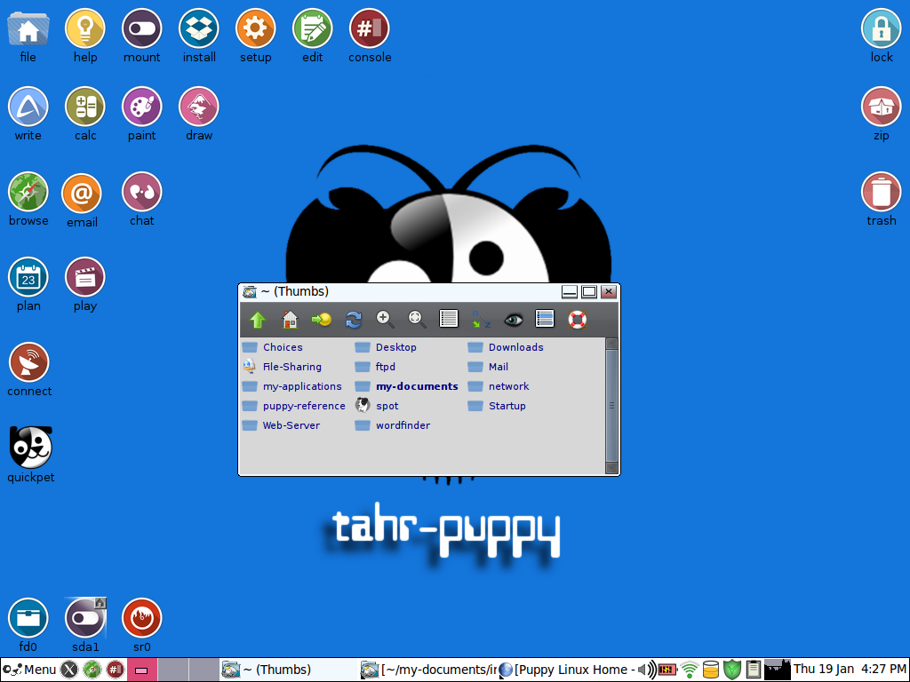 Puppy Linux Tahrpup on my Thinkpad T40