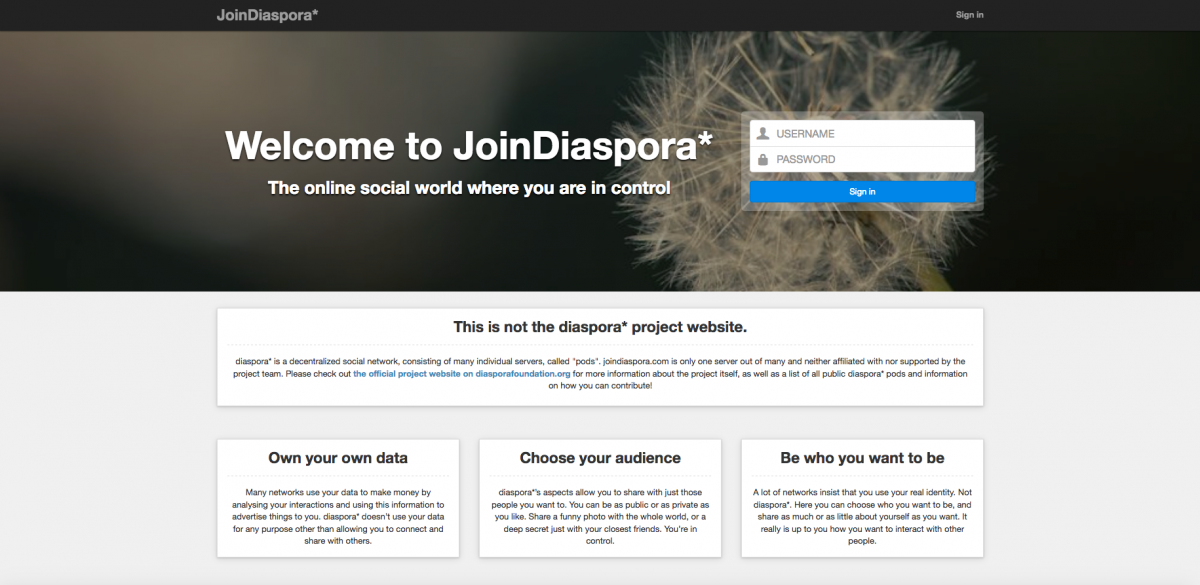 Diaspora*, an alternative social network for GooglePlus